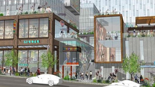 A view from Broadway and Fifth Avenue of the revised design plans for the Nashville Convention Center. It shows a more open-air feel.