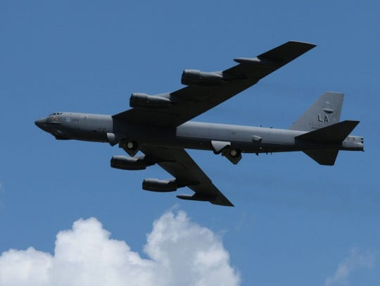 A Barksdale B-52 in flight, part of 2nd Bomb Wing's