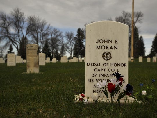 Headstone of John Moran at Highland Cemetery in Great