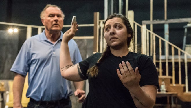 """Walt Haight as Duncan and Jade Halpern  as Meg rehearse for """"Leading Ladies."""" The show opens May 26 at Pentacle Theatre."""