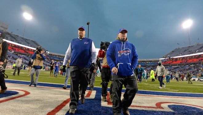 Buffalo Bills head coach Rex Ryan leaves the field after an NFL football game against the Miami Dolphins Saturday, Dec. 24, 2016, in Orchard Park, N.Y. The Dolphins won 34-31.(AP Photo/Adrian Kraus)