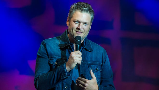 Blake Shelton performs during a free Opry style concert on Main Street outside of new restaurant and bar, Ole Red, opened by Shelton and Ryman Hospitality Partners on September 30, 2017 in Tishomingo, Okla.