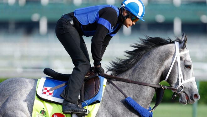 Kentucky Derby contender Mohayman is seen during a workout at Churchill Downs. April 25, 2016.