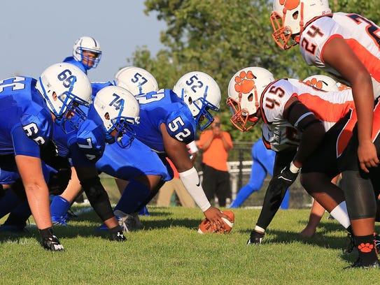 Going head to head on the line of scrimmage are Salem