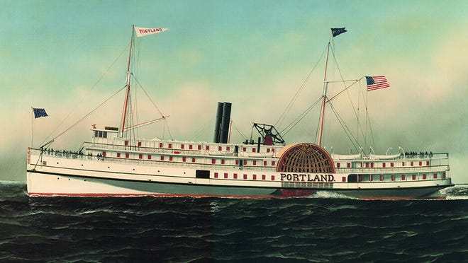 A rendering of the S.S. Portland sailing in the Gulf of Maine in 1891.