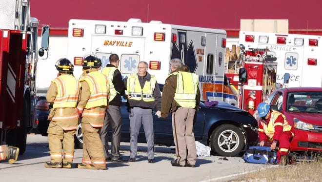 Emergency crews responded to a two-vehicle crash Thursday along Highway 49 and County Highway Z in Dodge County.