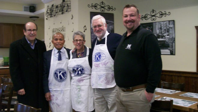 Pictured are Kiwanis President Marvin Rappaport, new members Charles Macias, Karen Ellsweig and Dr. Bruce Ellsweig and LTG. Dan Higby.