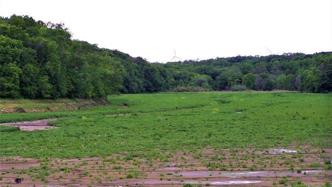 Waddams Creek snakes through the drained basin of Lake Le-Aqua-Na.