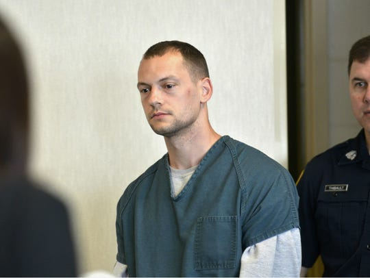 Lucas Gingras, 30, of Milton walks into the courtroom