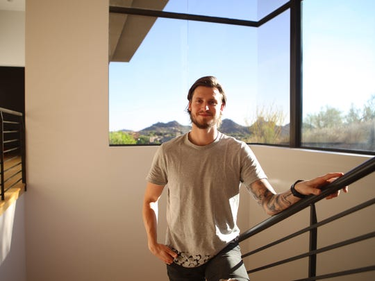 Coyotes defenseman Oliver Ekman-Larsson poses for a portrait in his Scottsdale home on Friday, Sept. 29, 2017.