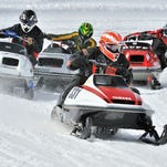 Vintage snowmobile racing is one of the events at the World Snowmobile Expo in West Yellowstone.