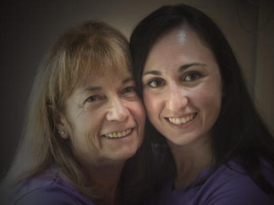 "Betty-Lou Ormsby of Marlton (left) was diagnosed with Parkinson's disease in 2009. Her family, including her daughter Erica Domingo (right),  formed a team ""B-Lou's Crew"" and started walking in the annual Parkinson's walk (A Walk to Stamp out Parkinson's) in Philadelphia."