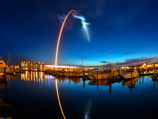 Launch of a SpaceX Falcon 9 rocket during a supply operation