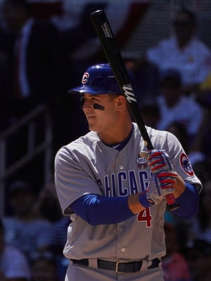 Anthony Rizzo uses a bat with the #MSDSTRONG engraved on it.