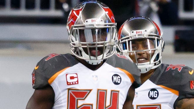 Tampa Bay Buccaneers linebacker Lavonte David plays against the Detroit Lions at Ford Field in Detroit on Dec. 7, 2014.
