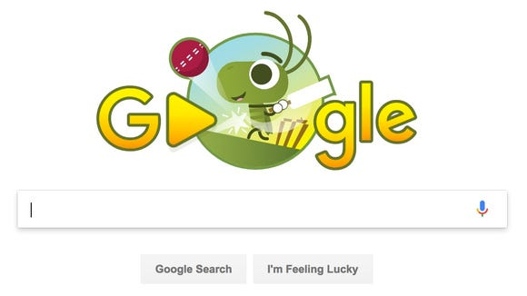 The Google Doodle in honor of the Women's Cricket World
