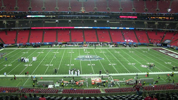 This is the last time the SEC title game will be played at the Georgia Dome. It will be played next year at Mercedes-Benz Stadium in Atlanta.