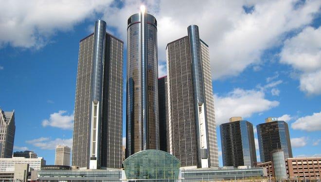 The Renaissance Center, headquarters of General Motors, on the Detroit River.