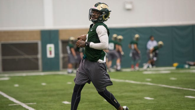 CSU defensive back A'Keitheon Whitner participates in a drill during a March 25 practice in the Rams' Indoor Practice Facility.