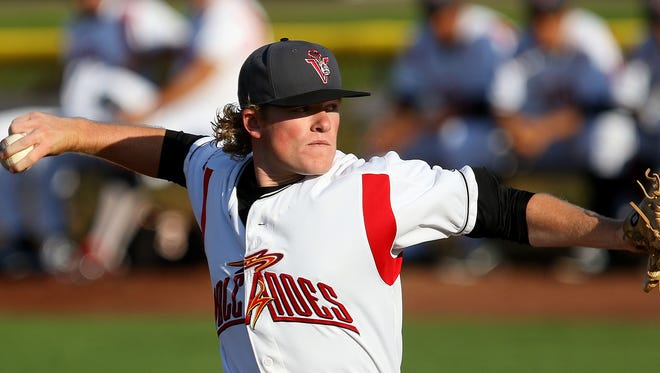 Volcanoes pitcher Logan Webb throws against Boise at Volcanoes Stadium, on Wednesday, July 15, 2015, in Keizer, Ore.