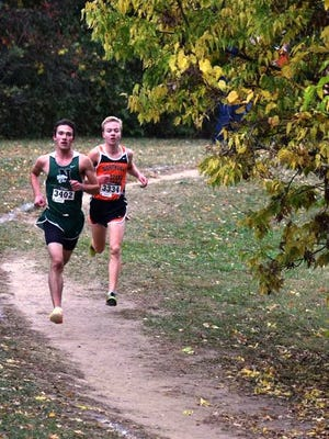 Novi's Joost Plaetinck (left)  and Northville's Ben Cracraft finished one-two in the dual meet race at Cass Benton.