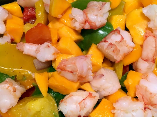 Mango Shrimp Salsa can be served with corn tortilla