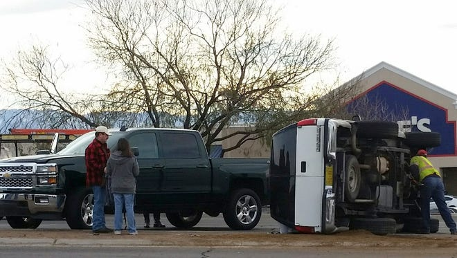 Two vehicles were involved in a crash Monday morning near Lowe's Home Improvement on North Main Street in Las Cruces.