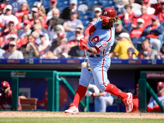 Phillies' Odubel Herrera (37) connects on a pitch against