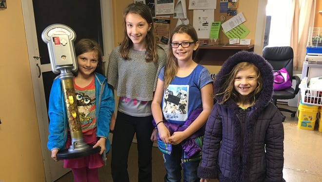 The Lincoln County Humane Society would like to thank the Radtke sisters, Amber, 9, Hazel, 11, and Violet, 7, of Merrill for their generous donation. The girls keep the piggy-bank parking meter in their house all year to collect money for the shelter. This year, they donated $277 for the animals calling the LCHS their temporary home. Thank you, Amber, Hazel and Violet! Pictured, from left, are Amber; Hazel; a friend, Jenna; and Violet.