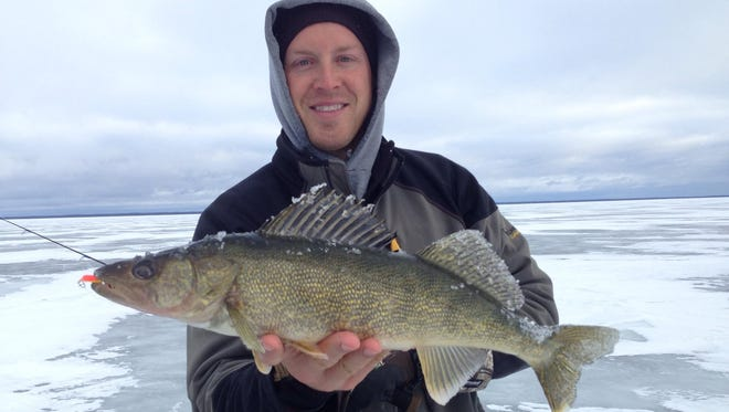 Kyle Johnson of Andover caught a walleye on a Buck-Shot Rattle Spoon fishing in deep water at the base of the structure we were on.