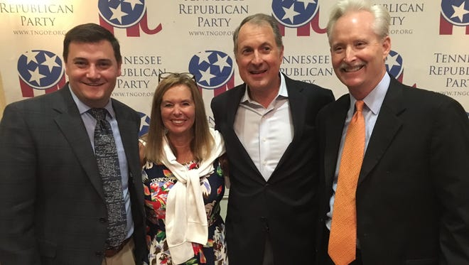 Tennessee Republican Party chairman Ryan Haynes (from left), Susan Richardson Williams, Chris Devaney and Bob Davis - who have also served as party chairmen are among the veterans in Tennessee's delegation and guests who have attended several Republican National Conventions.