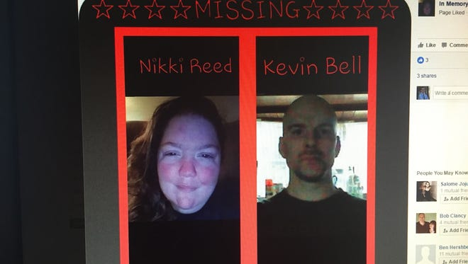 A missing poster shared on Facebook featuring photos of Nikki Reed and Kevin Bell. Reed was found dead and Bell severely injured in a one-vehicle accident in Indiana Tuesday.
