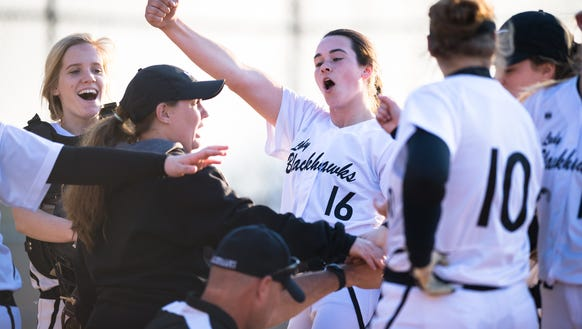 North Buncombe's Caitlin Griffin dances while in a