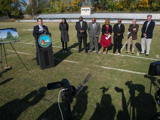 Salesianum School President Brendan Kennealey speaks at a Nov. 2, 2016, press conference announcing a tentative lease agreement that would allow the private school to renovate and take over operation of Baynard Stadium from the City of Wilmington. The deal fell apart two weeks later, but a new deal between the parties is expected to be announced Wednesday.