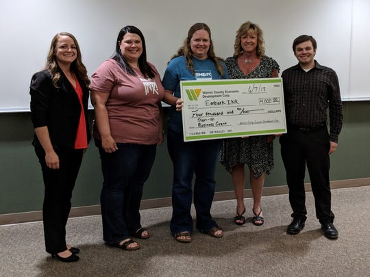The owners of the start-up business Embark Ink won $4,000 in the 4th-annual Warren County Economic Development small business grant contest.