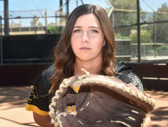 Newbury Park catcher Serena Huchingson helped pitcher