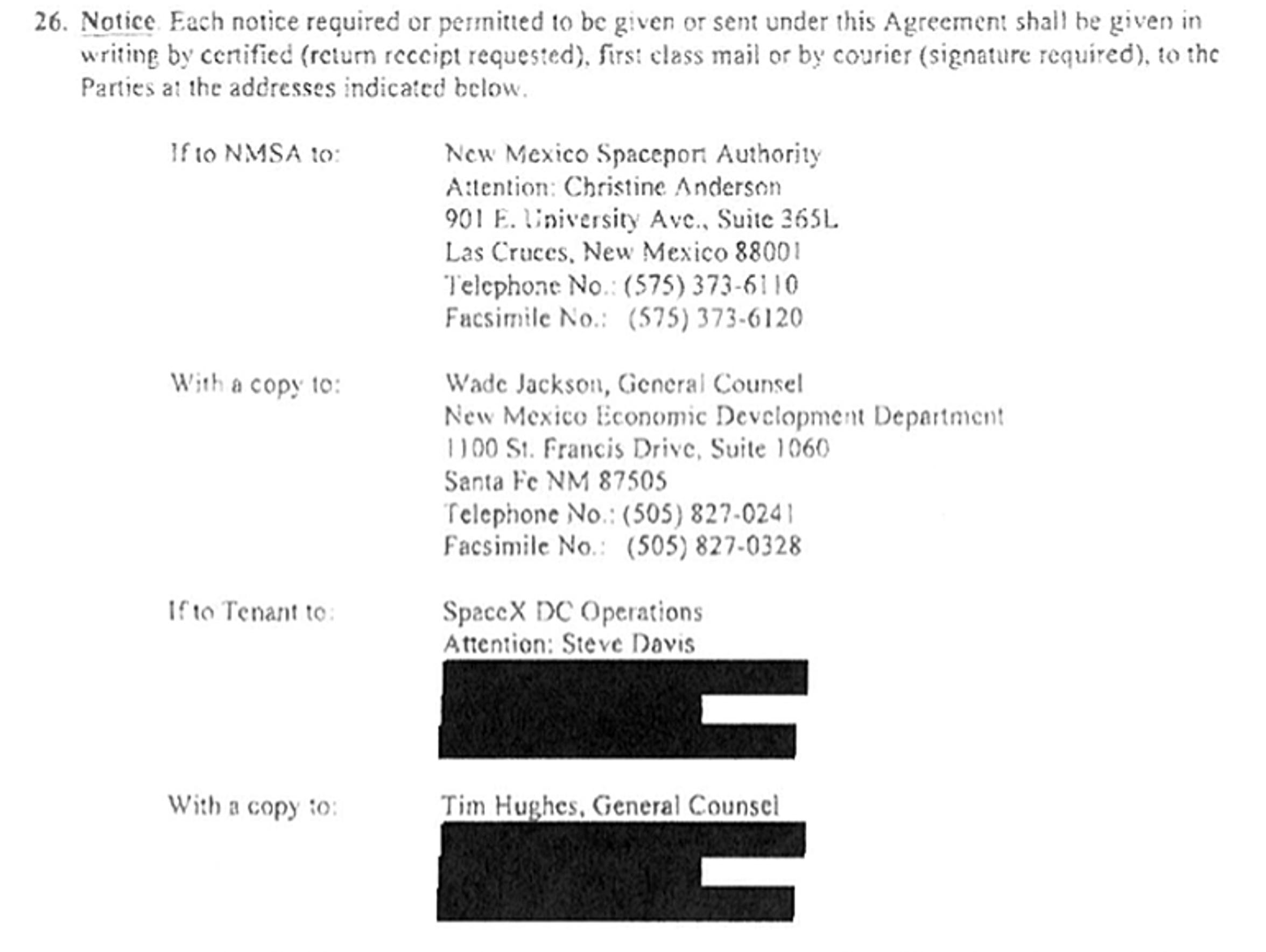 The redactions the New Mexico Space Authority made