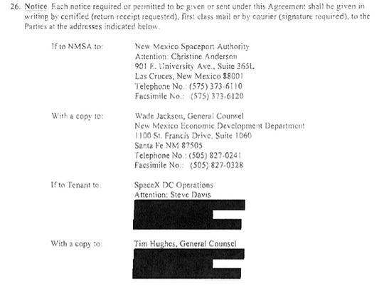 The redactions the New Mexico Space Authority made before providing four lease agreements to NMPolitics.net were so extensive that they even included, in the SpaceX lease shown here, contact information for two company officials