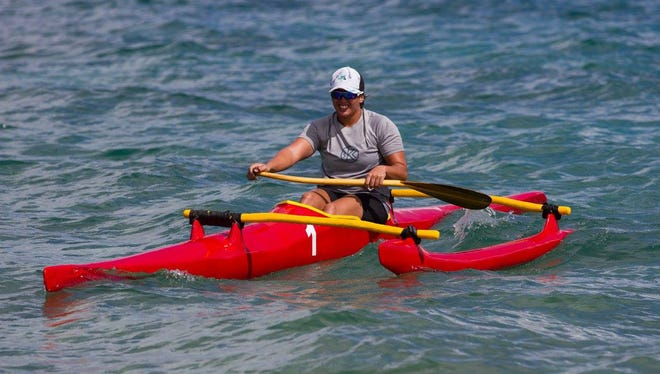 Palau's Olympian Marina Toribiong took first place in the women's 500 meter V1 Micronesian Cup race on Friday in Palau.