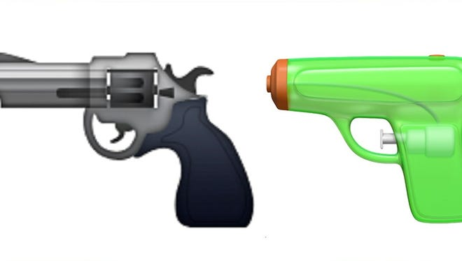 The gun emoji has been replaced with a squirt gun.