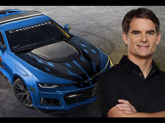 Jeff Gordon and a CGI model of the pace car he will drive at this year's Brickyard 400.