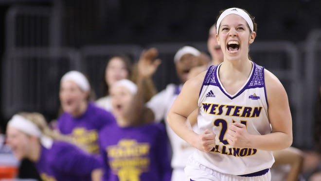 SIOUX FALLS, SD: MARCH 6: Taylor Higginbotham #24 of Western Illinois  celebrates after a score late in their game against Omaha during the Summit League Basketball Championship on March 6, 2017 at the Denny Sanford Premier Center in Sioux Falls, SD. (Photo by Dick Carlson/Inertia)