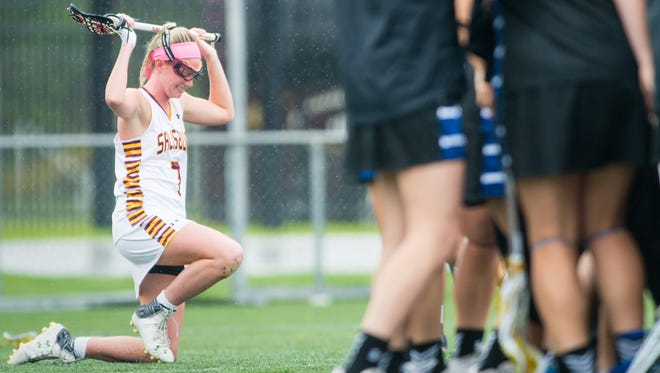 Salisbury University senior midfielder Samantha Duranti (7) grieves after falling to Franklin and Marshall in the NCAA Division 3 Women's Lacrosse Regional Final on Sunday, May 22 at Sea Gull Stadium in Salisbury.