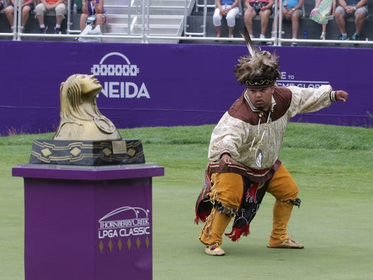 An Oneida Nation member performs a ceremonial dance
