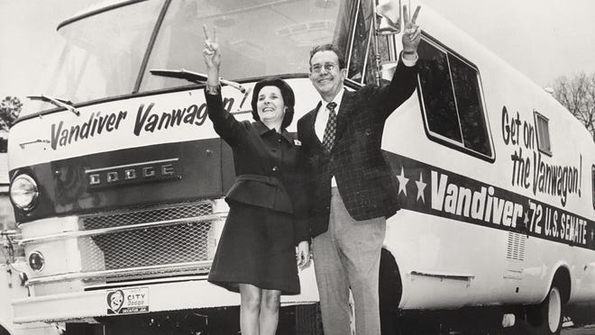 Georgia Senate candidate Ernest Vandiver and his wife show up in Augusta with their 'Vanwagon' in 1972.