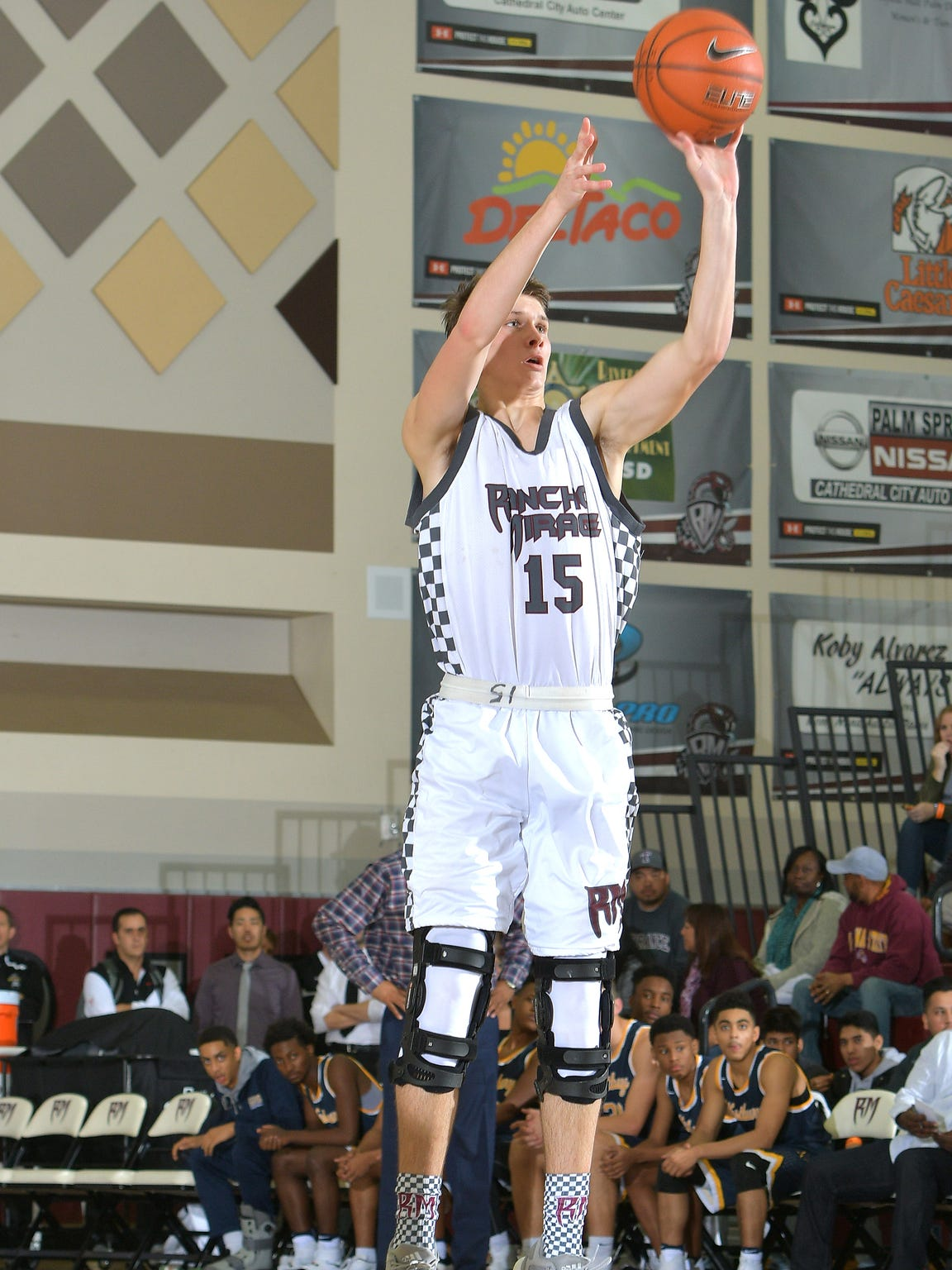 Rancho Mirage junior Bryan Talley shoots a jumper in a game during the Rancho Mirage Holiday Invitational.
