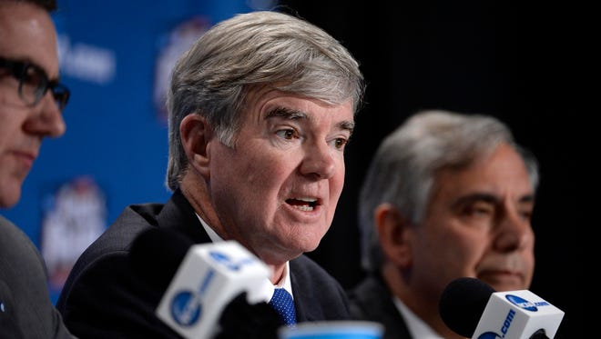 NCAA president Mark Emmert speaks to the media about the Indiana religious freedom law.