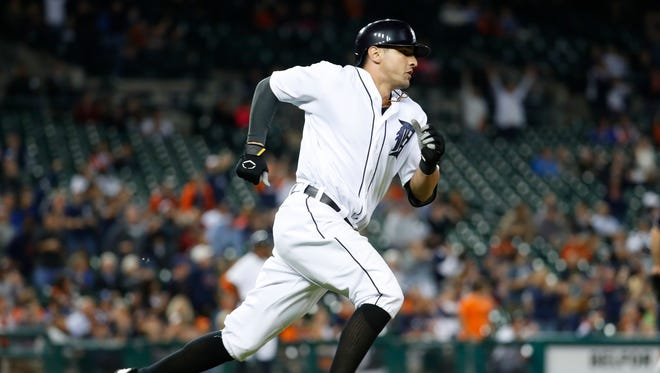 Tigers third baseman Nick Castellanos runs on a double during the eighth inning of the Tigers' 12-0 win Tuesday at Comerica Park.