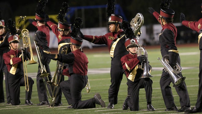 Simi Valley High School Marching Pride get ready to perform their field show at a recent Sounds of Conejo event. Thousand Oaks High School will host the 2017 show Oct. 7 at its stadium.
