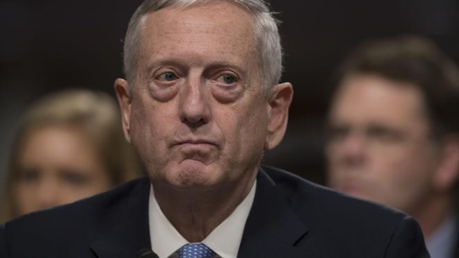 Defense Secretary-designate James Mattis listens on Capitol Hill in Washington while testifying at his confirmation hearing before the Senate Armed Services Committee on Jan. 12.